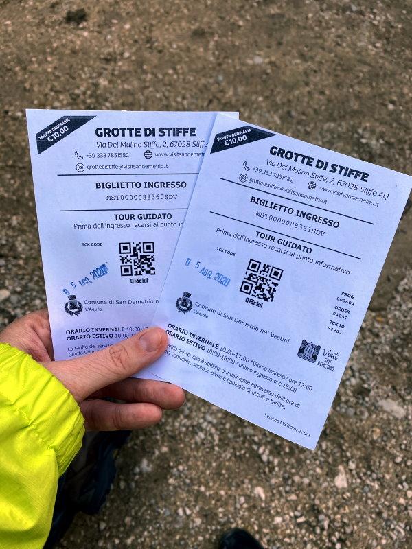 biglietti per entrare alle Grotte di Stiffe
