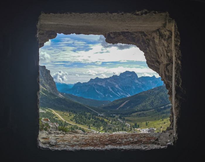 Dolomiti in camper, vista dalla galleria Goinginger