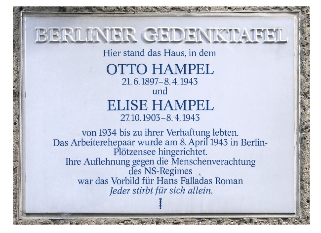 Film Lettere da Berlino, targa commemorativa