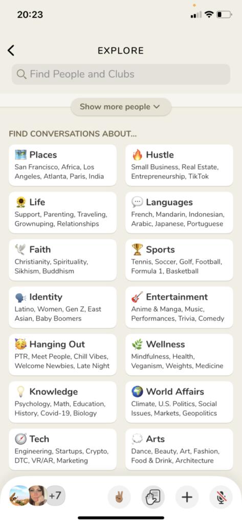 esempi di interessi su Clubhouse