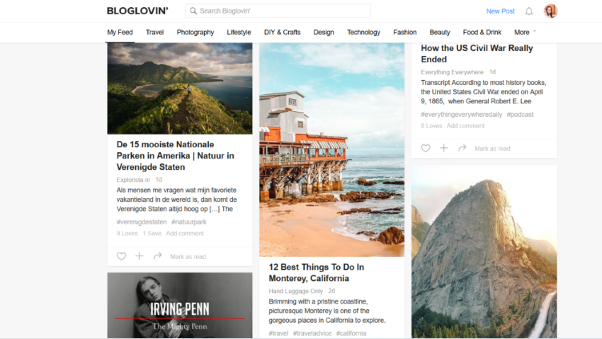 Bloglovin' feed