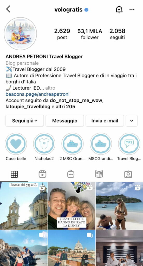 spunta blu su instagram - il profilo di Andrea Petroni di vologratis